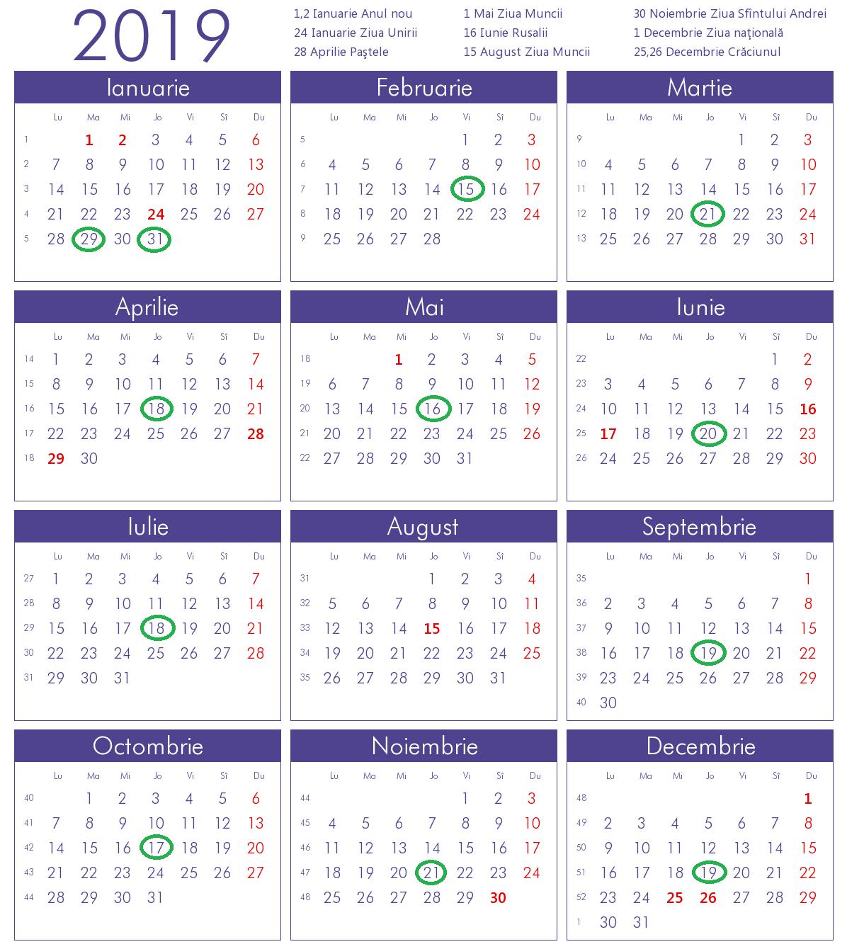 Calendarul sedintelor ordinare ale Senatului pe anul 2019